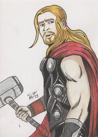 Thor AoU marker sketch by Christopher Masson